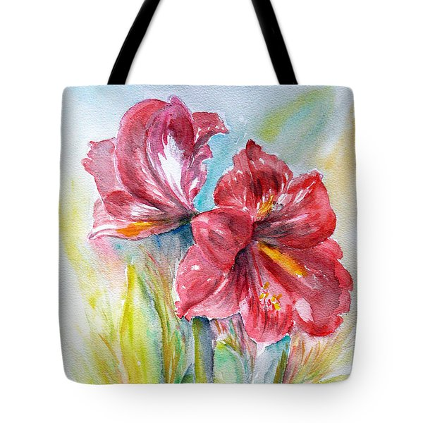 Tote Bag featuring the painting Lily Red by Jasna Dragun