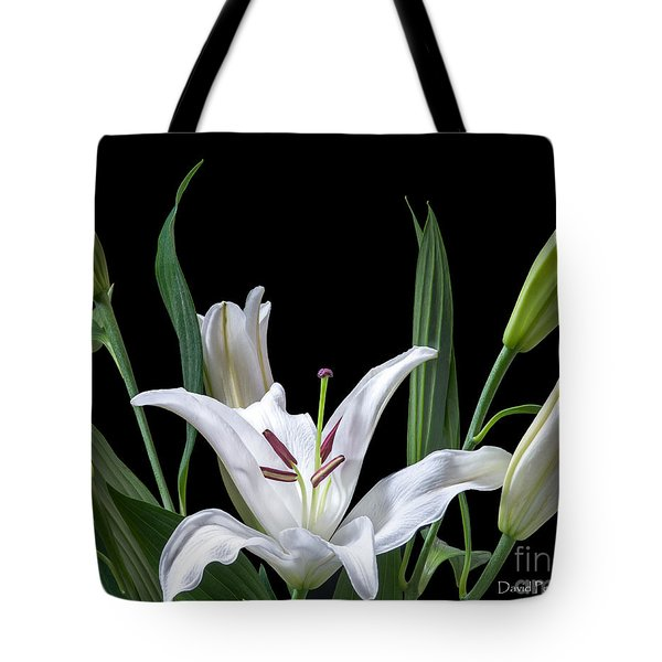 Tote Bag featuring the photograph A White Oriental Lily Surrounded by David Perry Lawrence