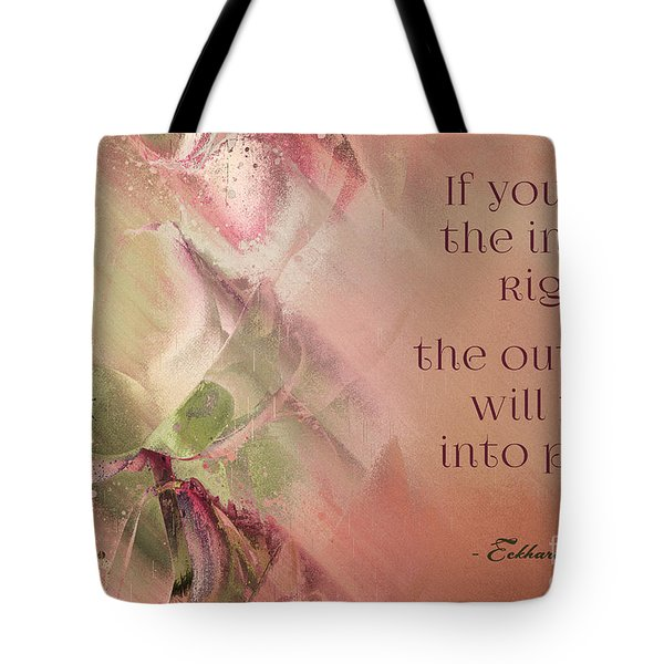 Tote Bag featuring the digital art Lily Text - Et01b by Variance Collections
