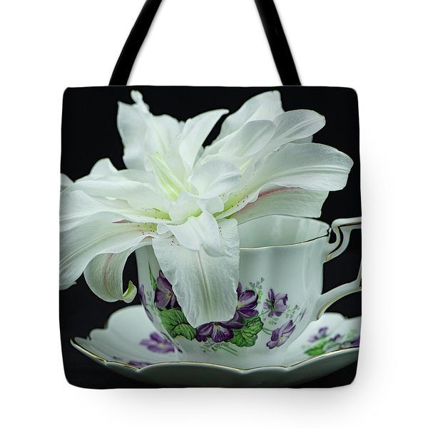 Lily With Teacup Tote Bag