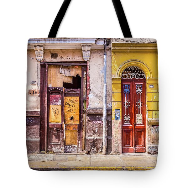 Tote Bag featuring the photograph Lima City Doors by Gary Gillette
