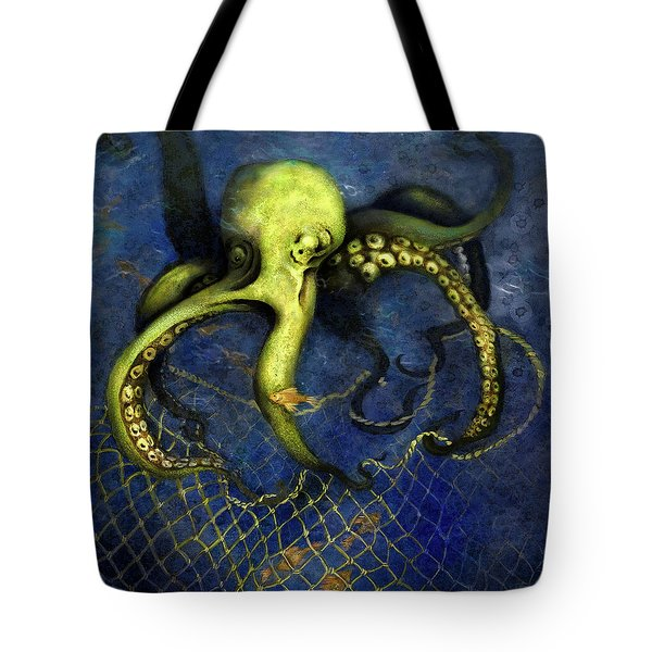 Lime Green Octopus With Net Tote Bag