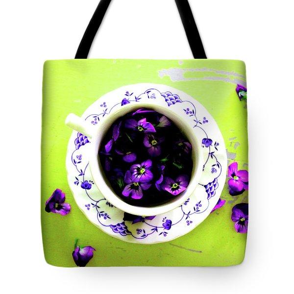 Lime Violet Tea Cup Tote Bag