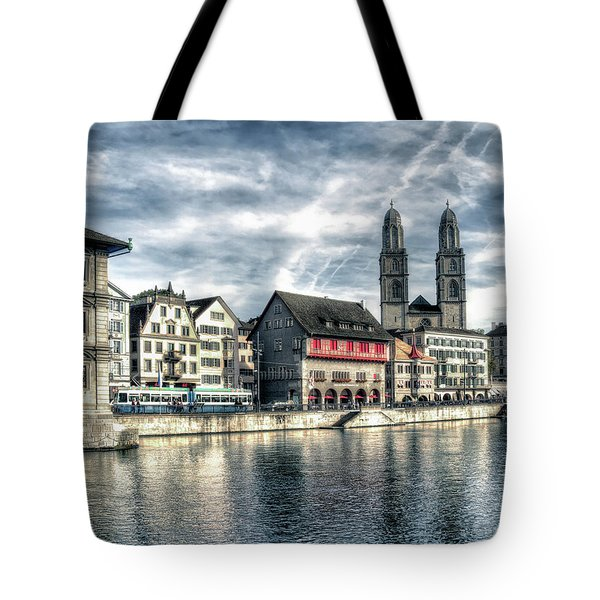 Tote Bag featuring the photograph Limmat Riverfront by Jim Hill