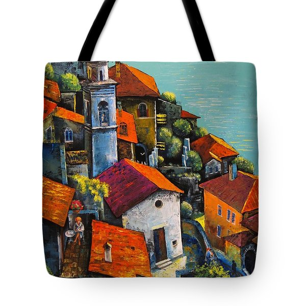 Tote Bag featuring the painting Limone Del Garda by Mikhail Zarovny