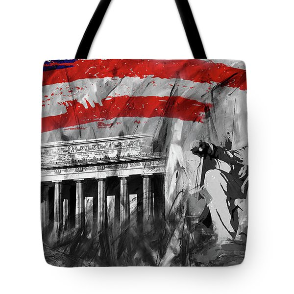 Tote Bag featuring the painting Lincoln Abe by Gull G