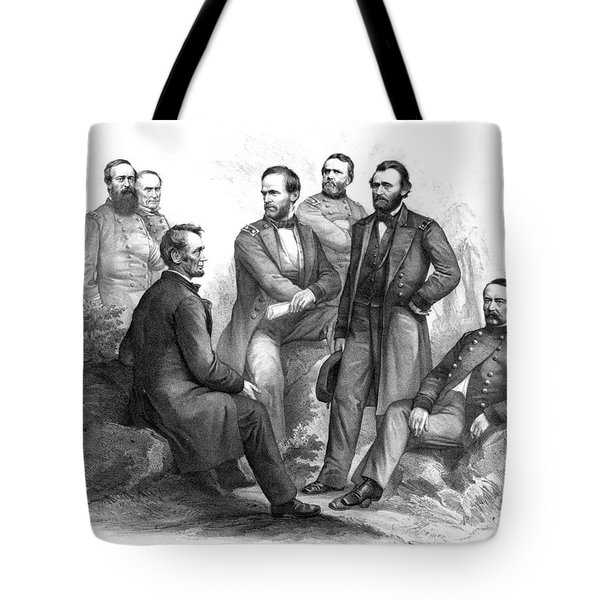 Lincoln And His Generals Black And White Tote Bag