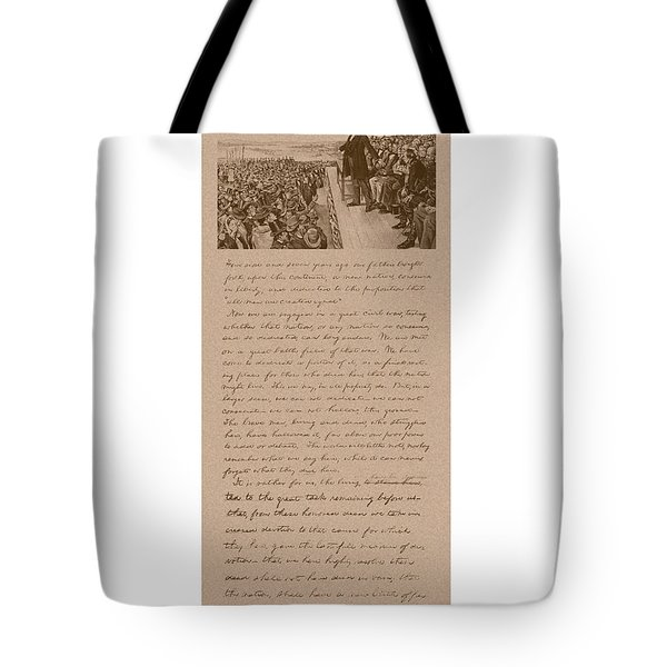 Lincoln And The Gettysburg Address Tote Bag
