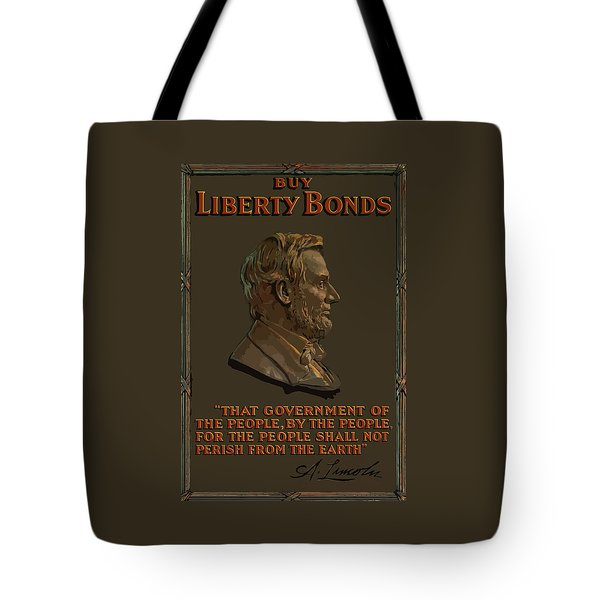 Lincoln Gettysburg Address Quote Tote Bag by War Is Hell Store