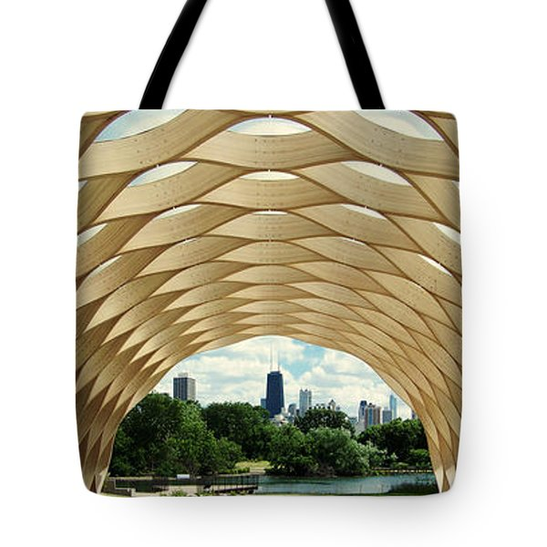 Tote Bag featuring the photograph Lincoln Park Zoo Nature Boardwalk Panorama by Kyle Hanson