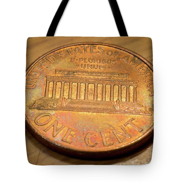 Tote Bag featuring the photograph Lincoln Penny by Geoffrey C Lewis