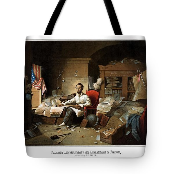 Lincoln Writing The Emancipation Proclamation Tote Bag