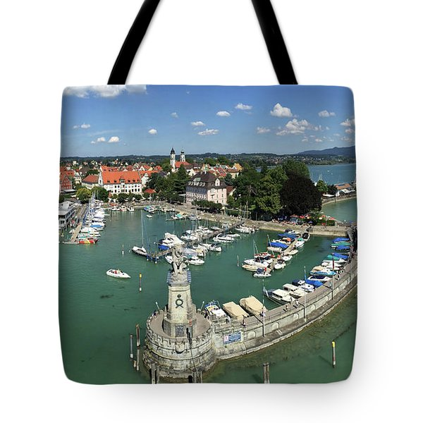 Lindau Bodensee Germany Harbor Panorama Tote Bag