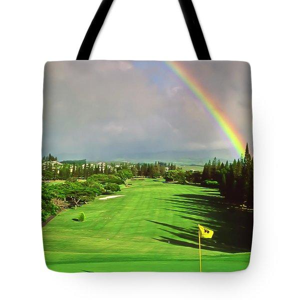 Maui Hawaii Kapalua Village Golf Course Line Of Flight Tote Bag