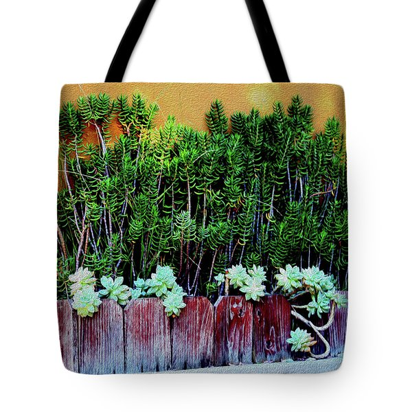 Line Of Succulents And Red Fence Tote Bag