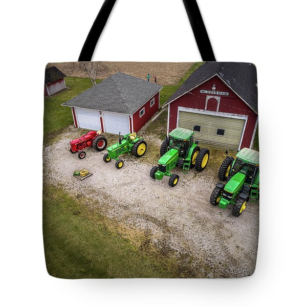 Lining Up The Tractors Tote Bag