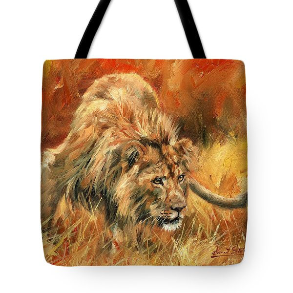 Tote Bag featuring the painting Lion Alert by David Stribbling