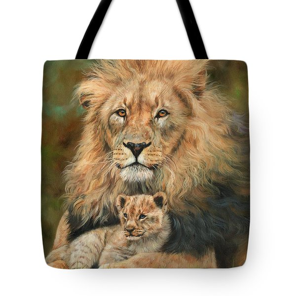 Tote Bag featuring the painting Lion And Cub by David Stribbling