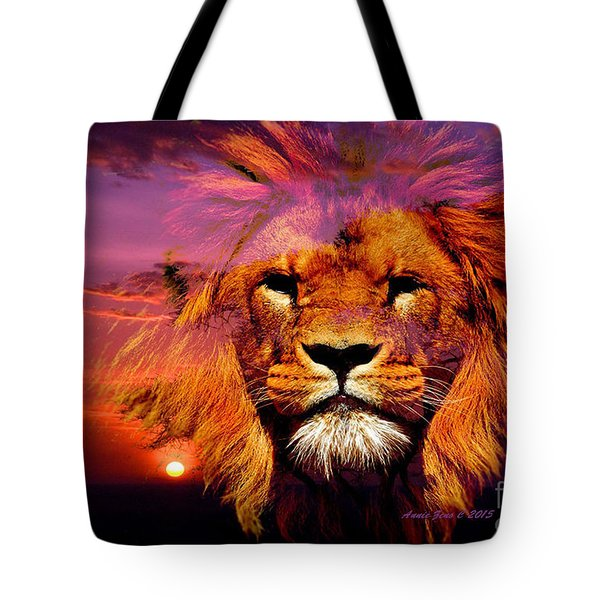 Lion And Eagle In A Sunset Tote Bag