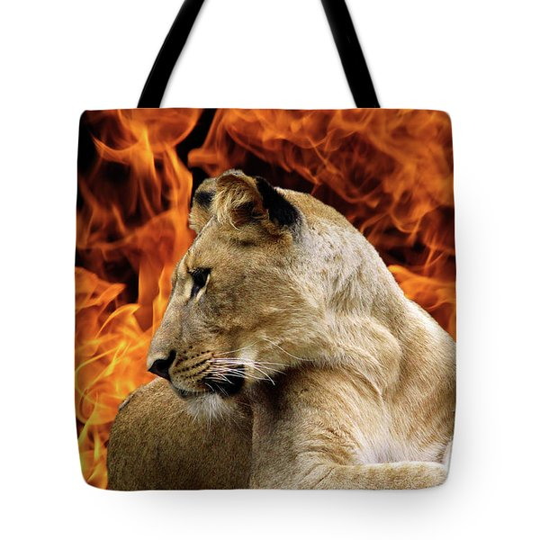 Lion And Fire Tote Bag