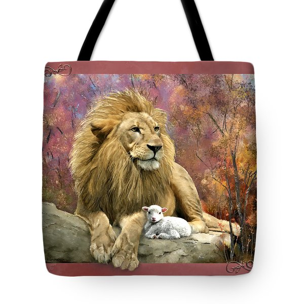 Lion And The Lamb Tote Bag