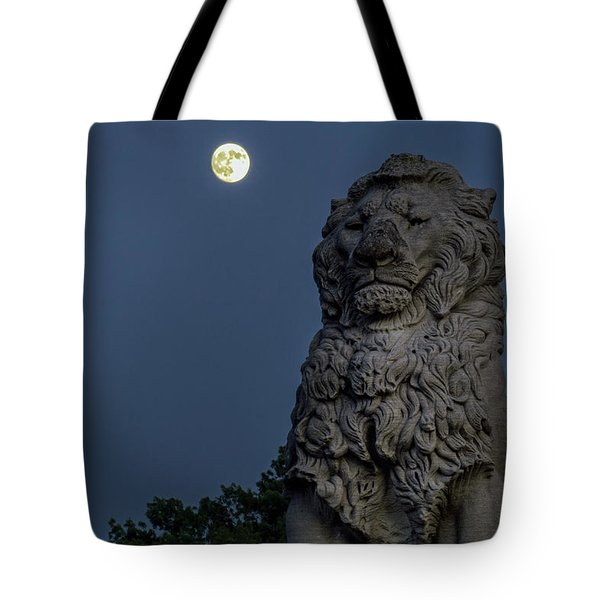 Lion And The Moon Tote Bag
