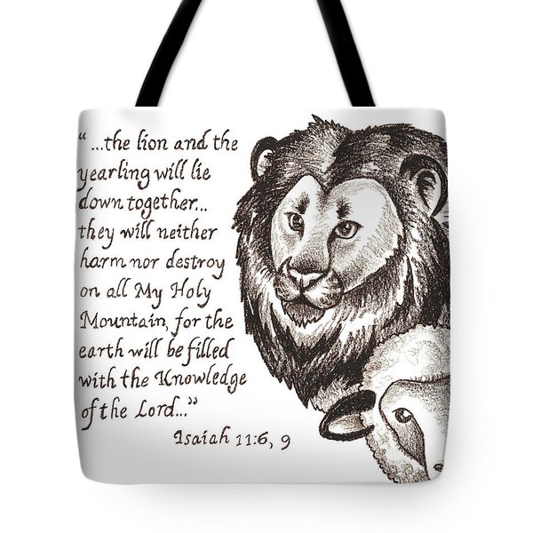 Lion And Yearling Tote Bag