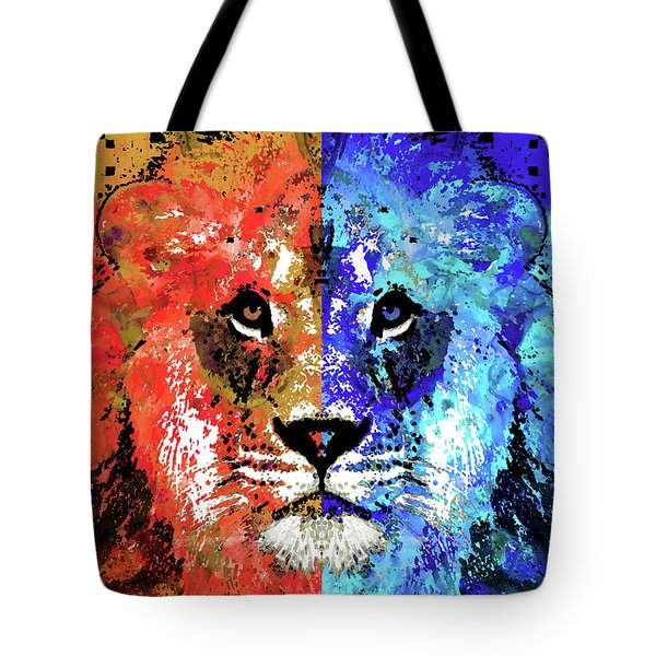 Tote Bag featuring the painting Lion Art - Majesty - Sharon Cummings by Sharon Cummings