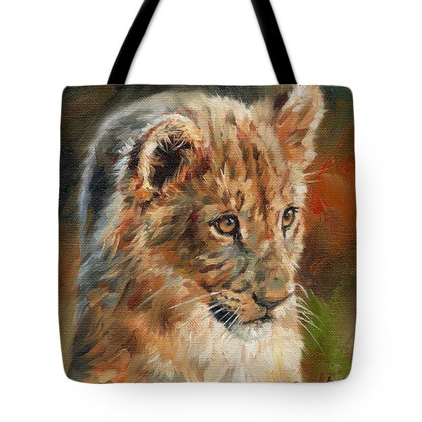 Tote Bag featuring the painting Lion Cub Portrait by David Stribbling