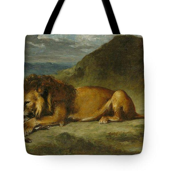 Lion Devouring A Goat Tote Bag