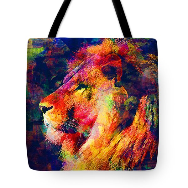 Lion Tote Bag by Elena Kosvincheva