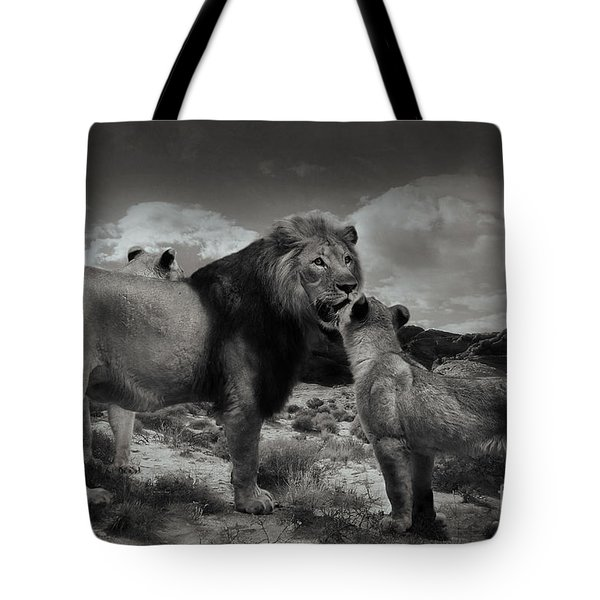 Tote Bag featuring the photograph Lion Family by Christine Sponchia