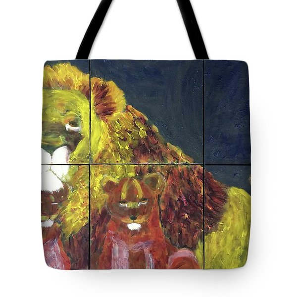 Tote Bag featuring the painting Lion Family by Donald J Ryker III