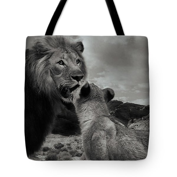 Tote Bag featuring the photograph Lion Family Panorama by Christine Sponchia