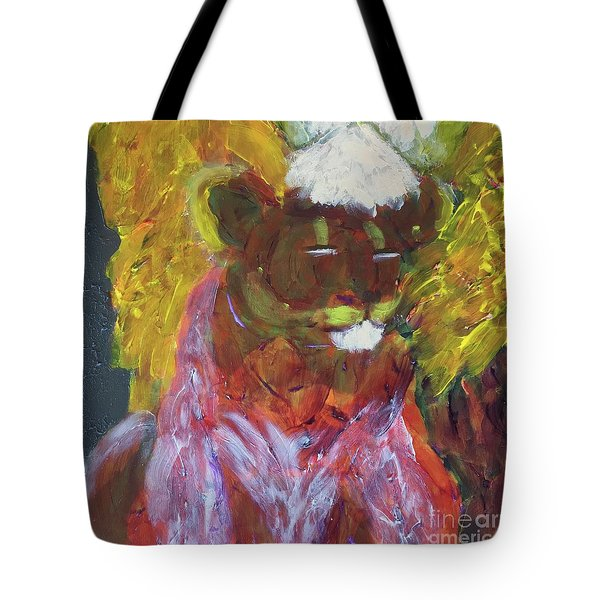 Tote Bag featuring the painting Lion Family Part 4 by Donald J Ryker III