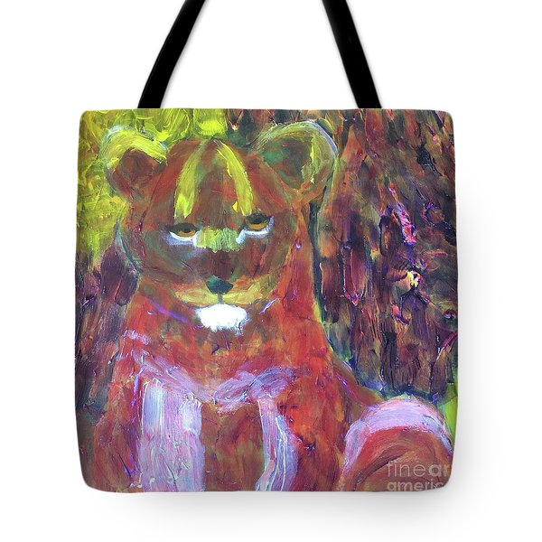 Tote Bag featuring the painting Lion Family Part 5 by Donald J Ryker III