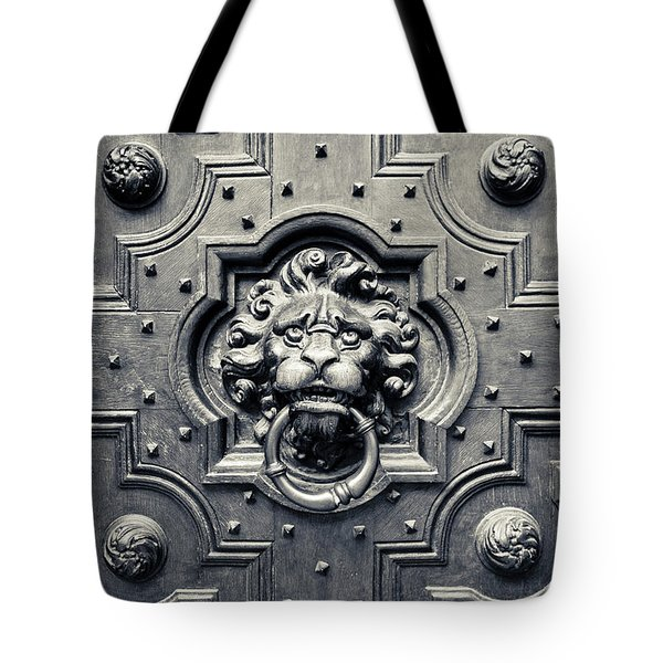 Lion Head Door Knocker Tote Bag by Adam Romanowicz