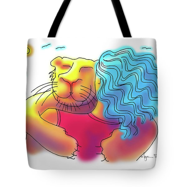 Lion Hug Tote Bag