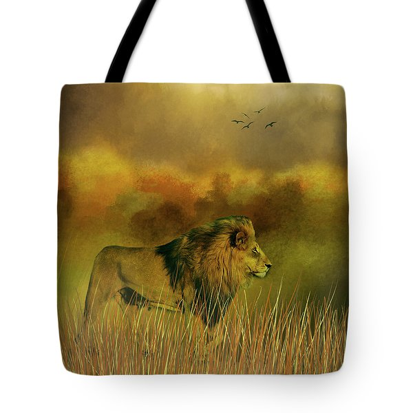 Tote Bag featuring the photograph Lion In The Mist by Diane Schuster