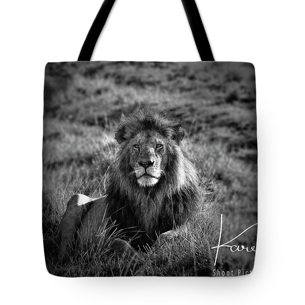Tote Bag featuring the photograph Lion King by Karen Lewis