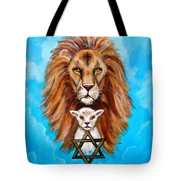 Tote Bag featuring the painting Lion Lies Down With A Lamb by Bob and Nadine Johnston