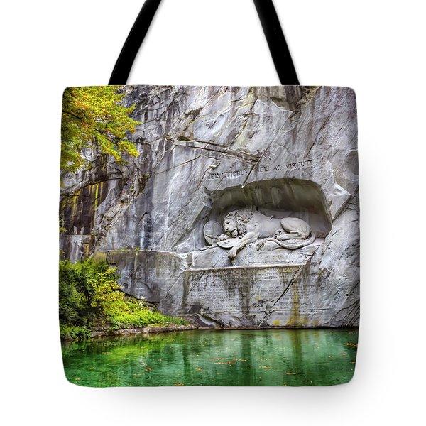 Lion Of Lucerne Tote Bag by Carol Japp