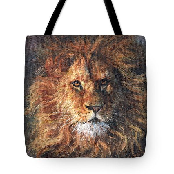 Tote Bag featuring the painting Lion Portrait by David Stribbling