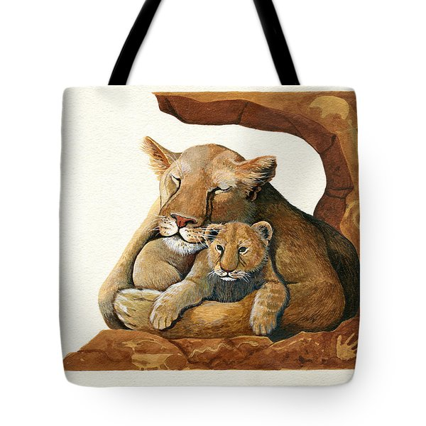 Tote Bag featuring the painting Lion - Protect Our Children Painting by Linda Apple