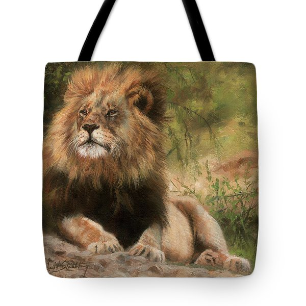 Tote Bag featuring the painting Lion Resting by David Stribbling