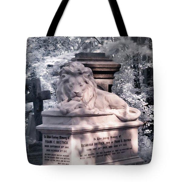 Lion Sleeping In The Shade Tote Bag by Helga Novelli