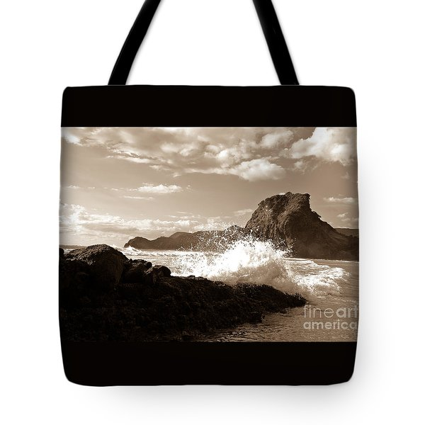 Lion Rock On Piha Beach, New Zealand Tote Bag