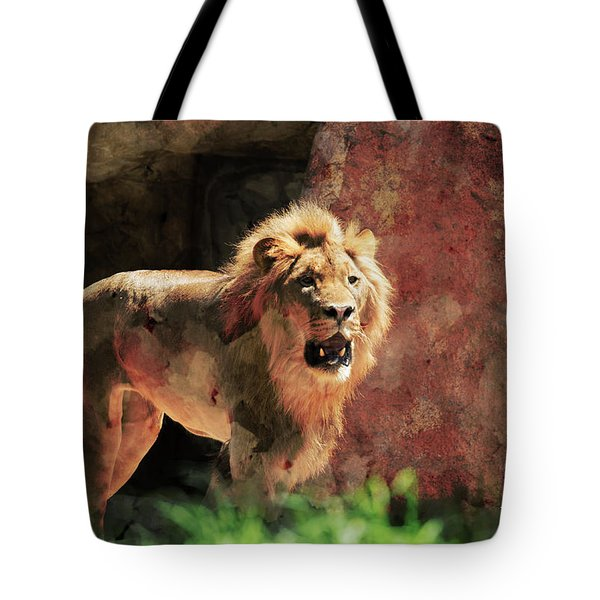 Tote Bag featuring the photograph Lion by T A Davies
