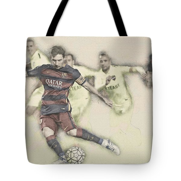 Lionel Messi Scores A Penalty Kick Against Levante  Tote Bag by Don Kuing