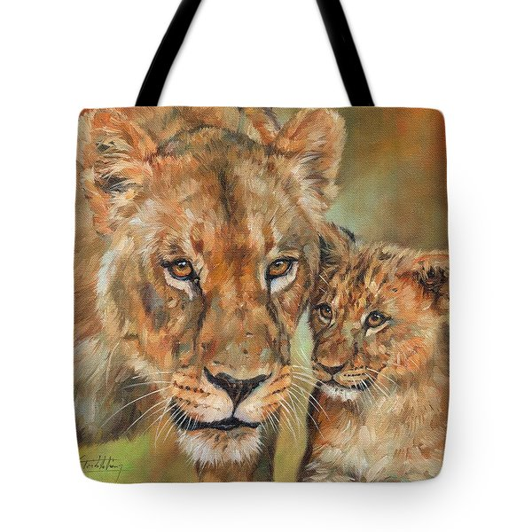 Tote Bag featuring the painting Lioness And Cub by David Stribbling